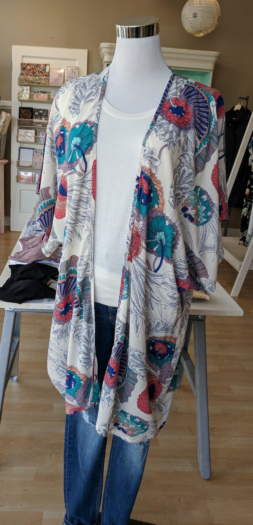 White Floral Kimono $34