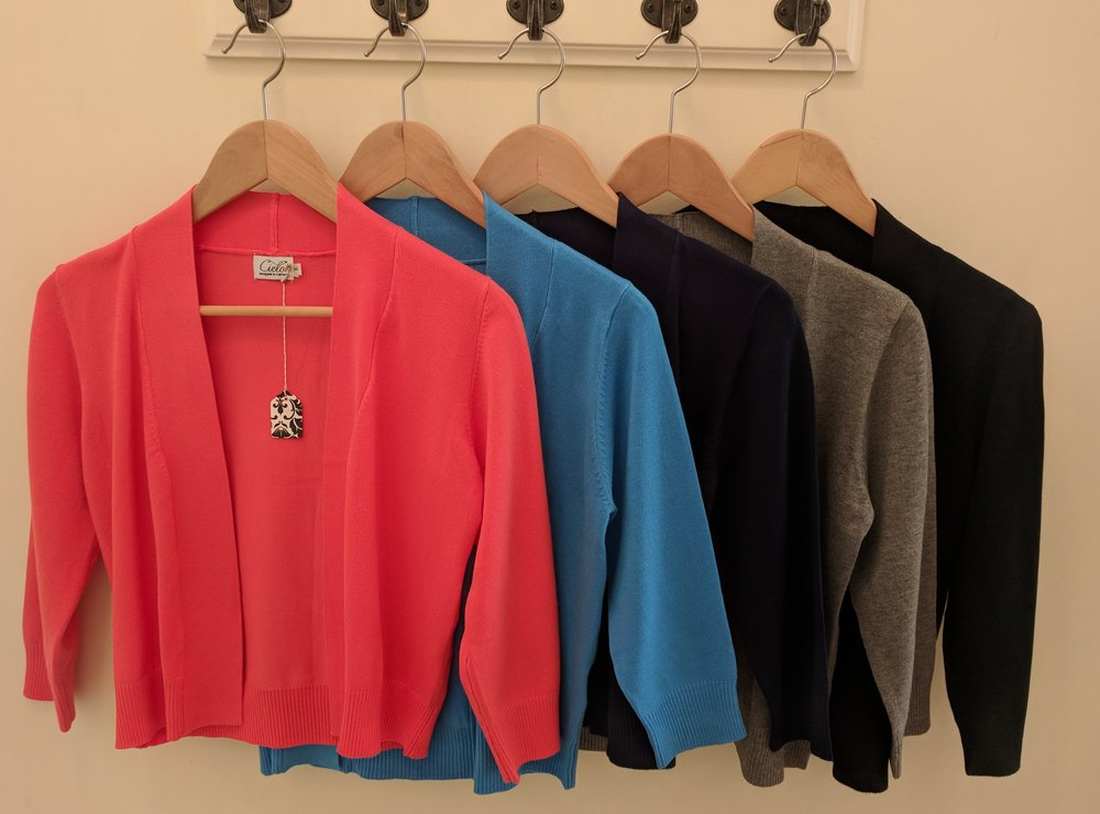 Bolero Cardigan in Orange, Cobalt Blue, Navy, Gray and Black $32