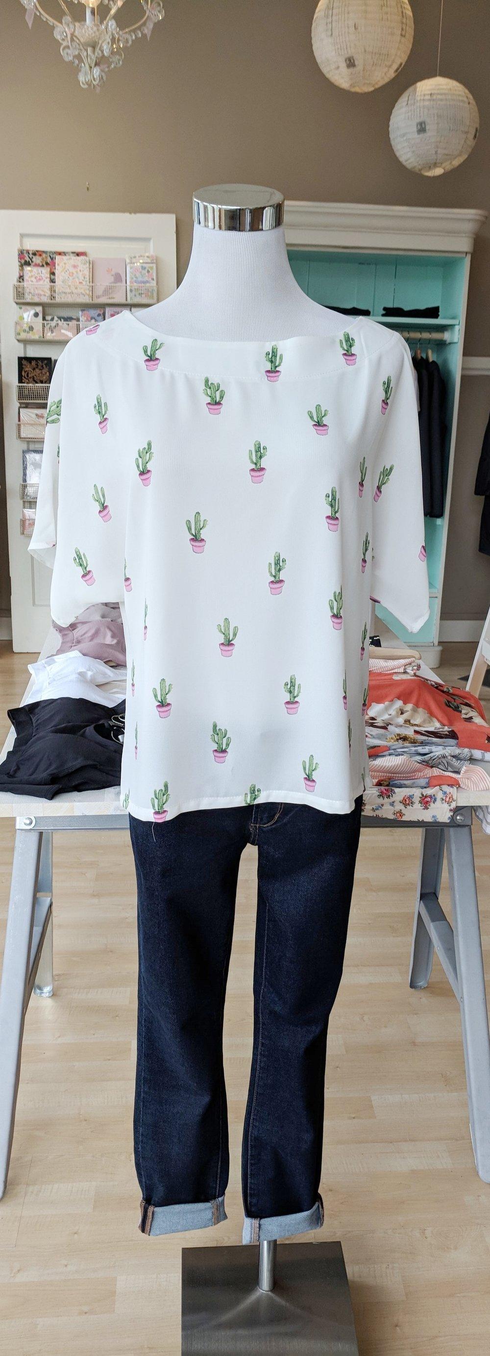 Cactus print top $35