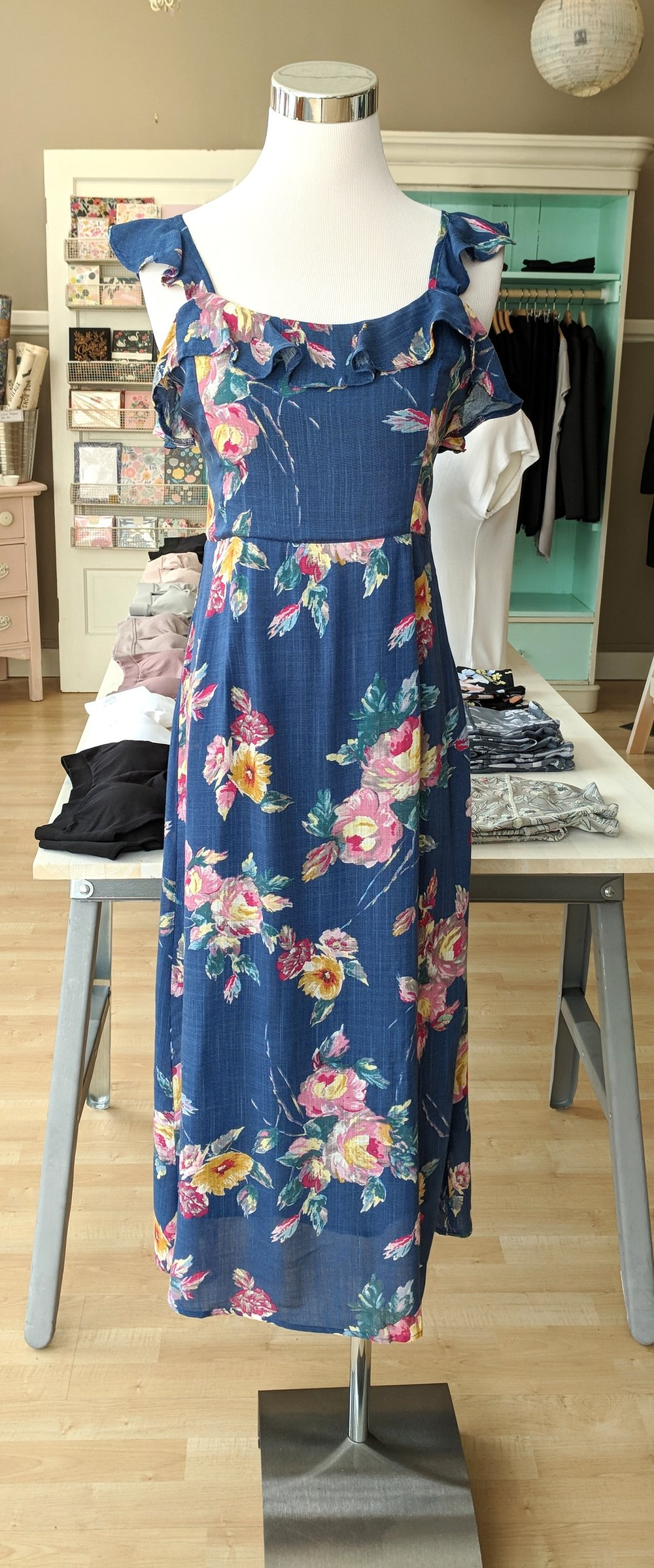 Blue floral midi dress with tie back $64