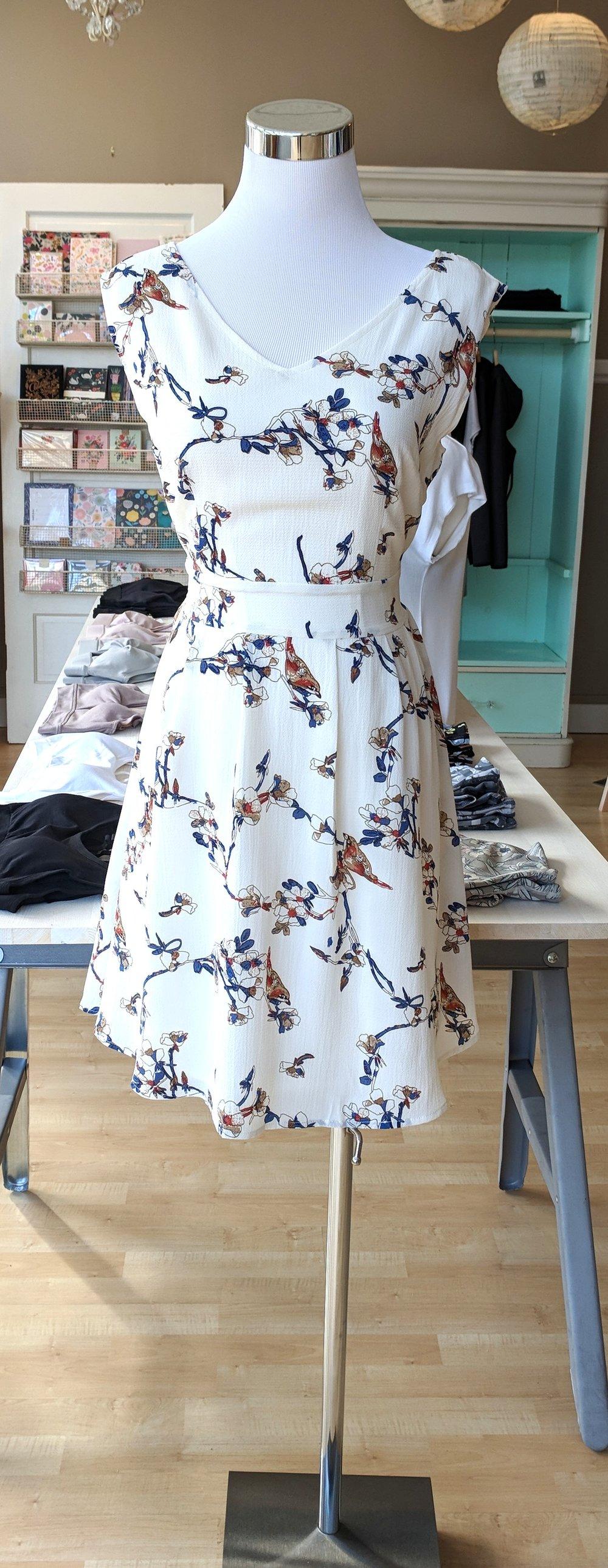 Bird Print dress with tie back $45