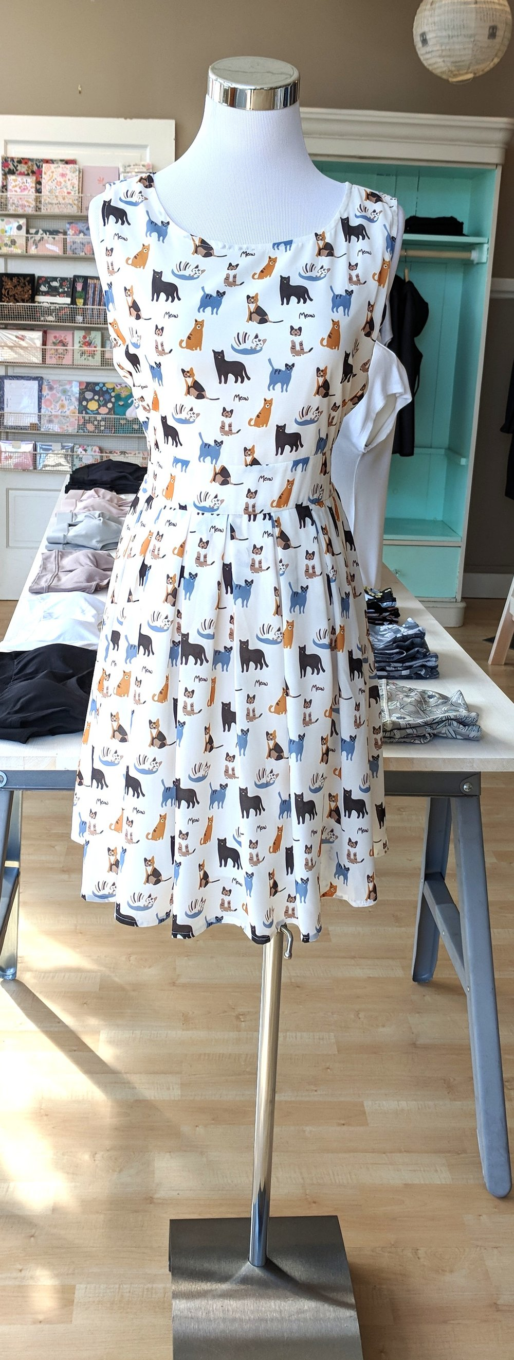 Cat print dress with tie back $45