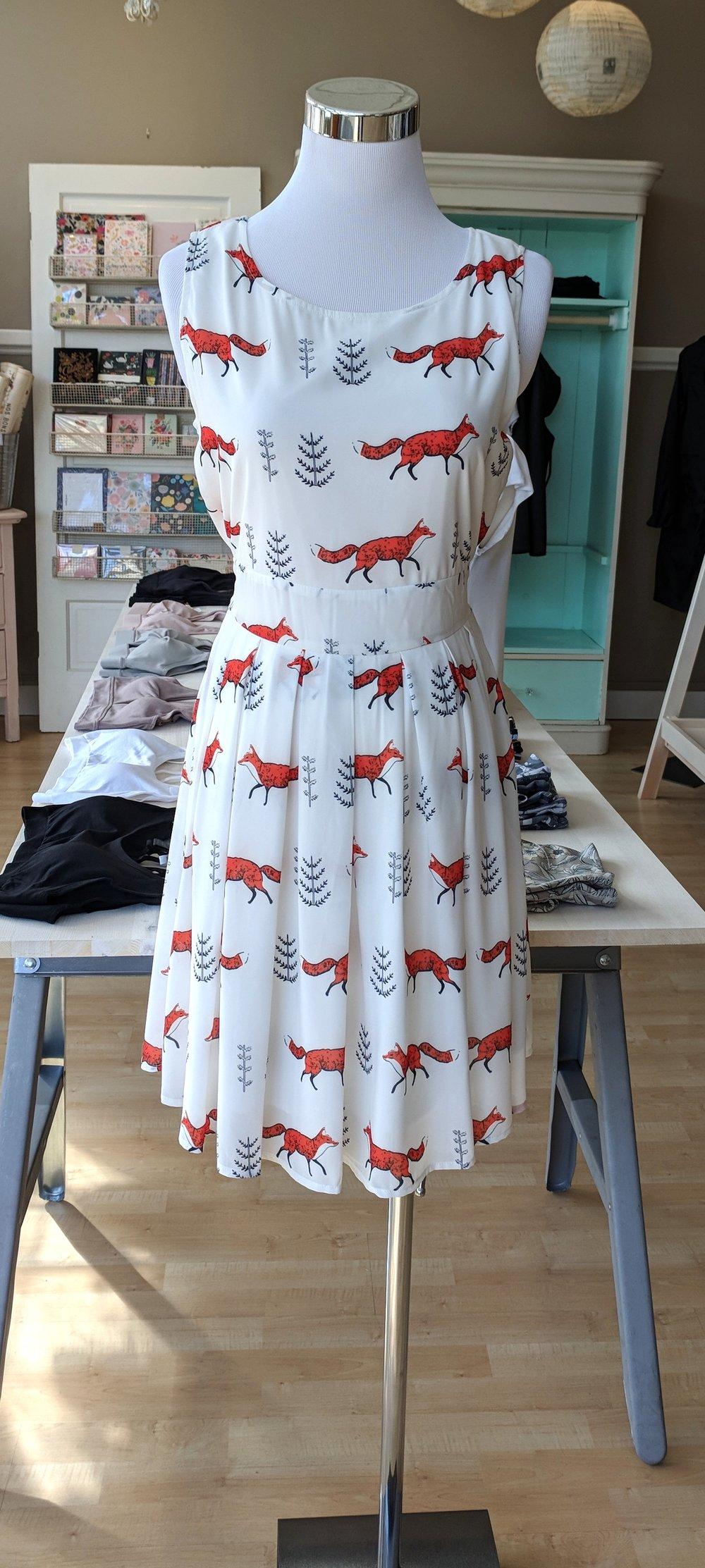 Fox print dress with tie back $45