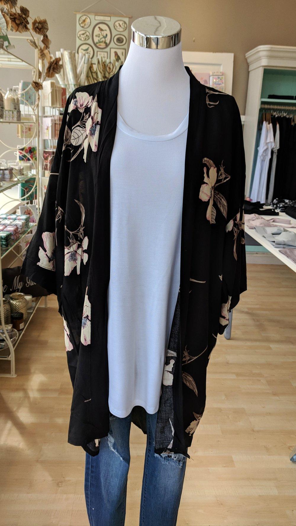 Black and beige floral Kimono $34