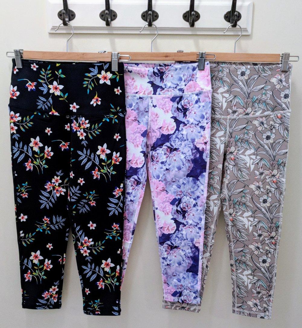 Navy Cherry-Blossom crop legging $35, Flower Power crop legging $34, Poppy print crop legging $35
