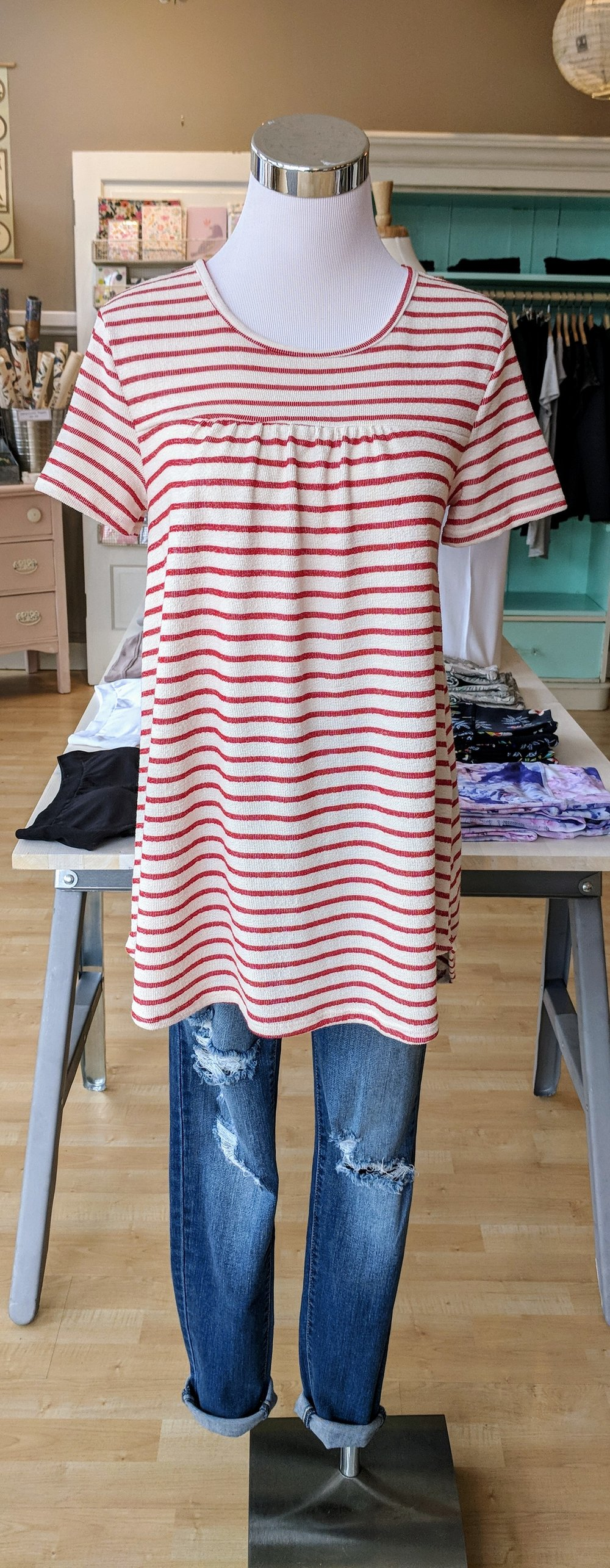 Red and white stripe top $32