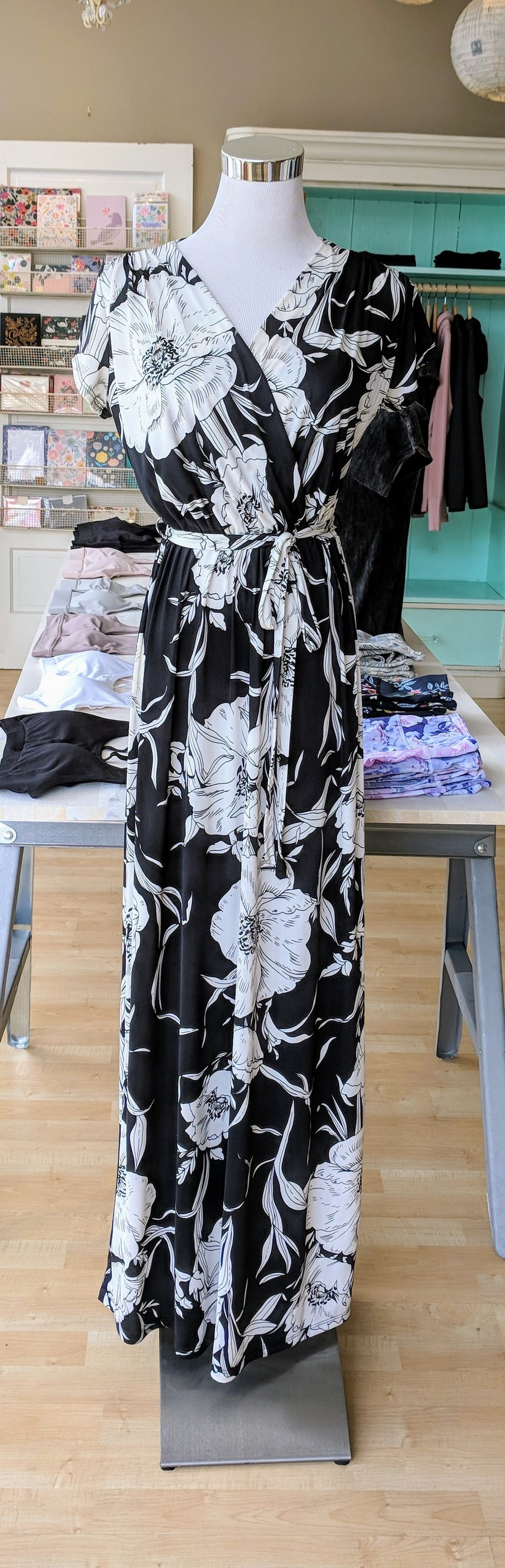 Black and White Floral Wrap Maxi Dress $54