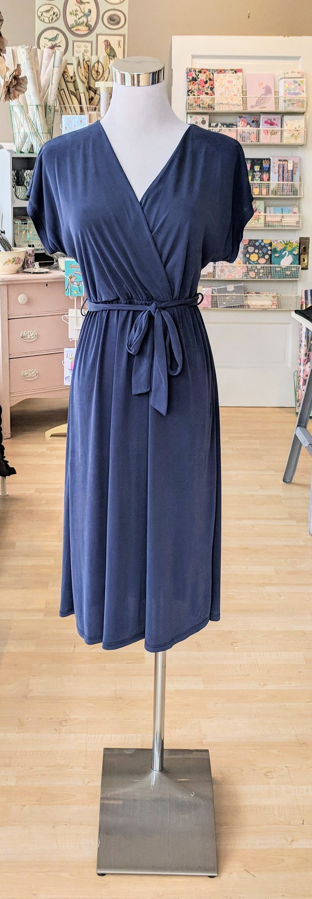 Dusty Navy Midi Wrap Dress $48