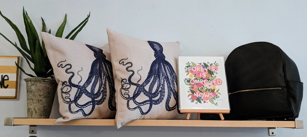 Navy Octopus Print Pillow $26