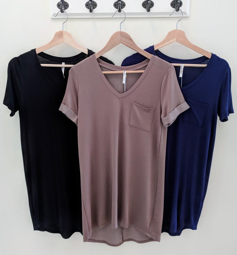 Short Sleeve V-neck Dress Back, Navy and Brown
