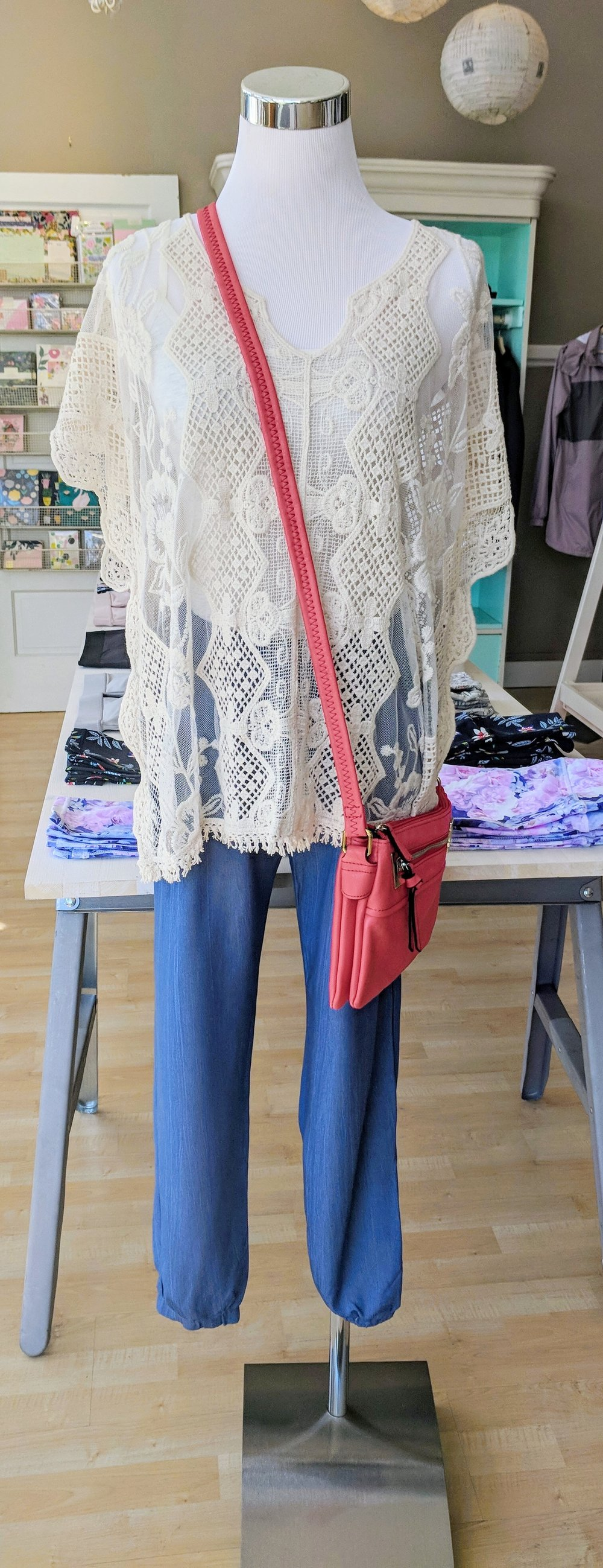 Embroidered Lace Boxy Top $38