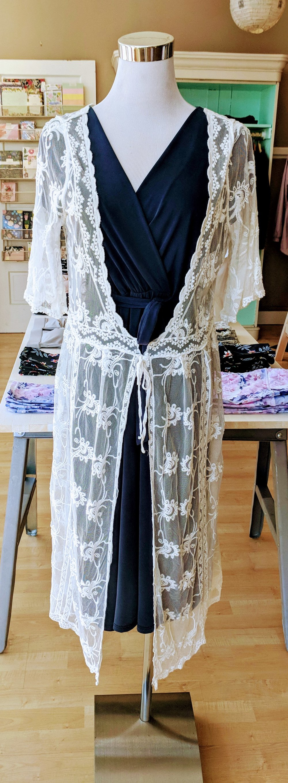 Sheer Lace Duster w/ Drawstring $38