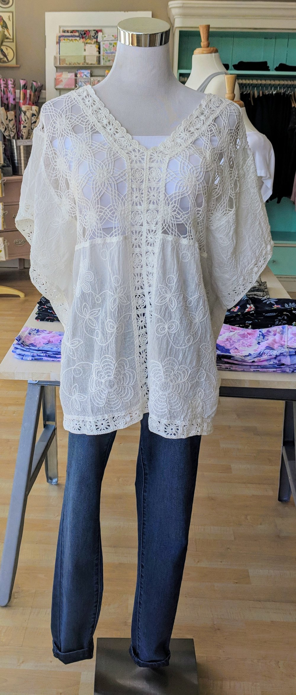 Embroidered Woven Poncho $35