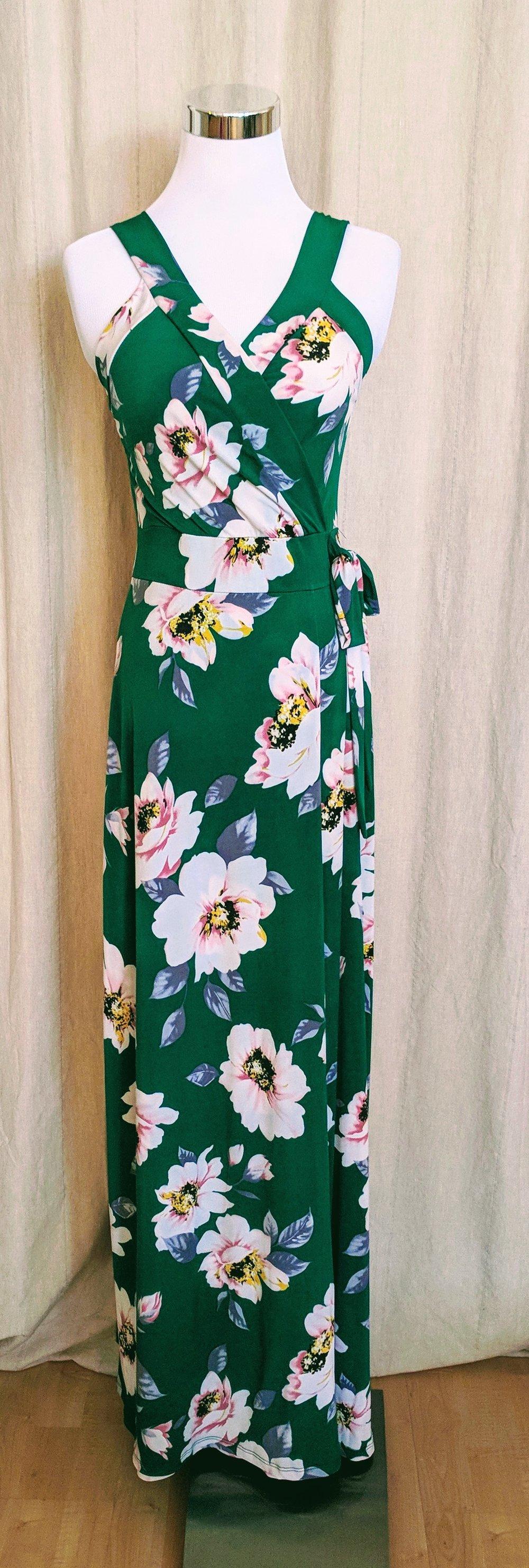 Green Floral Faux Wrap Dress $58