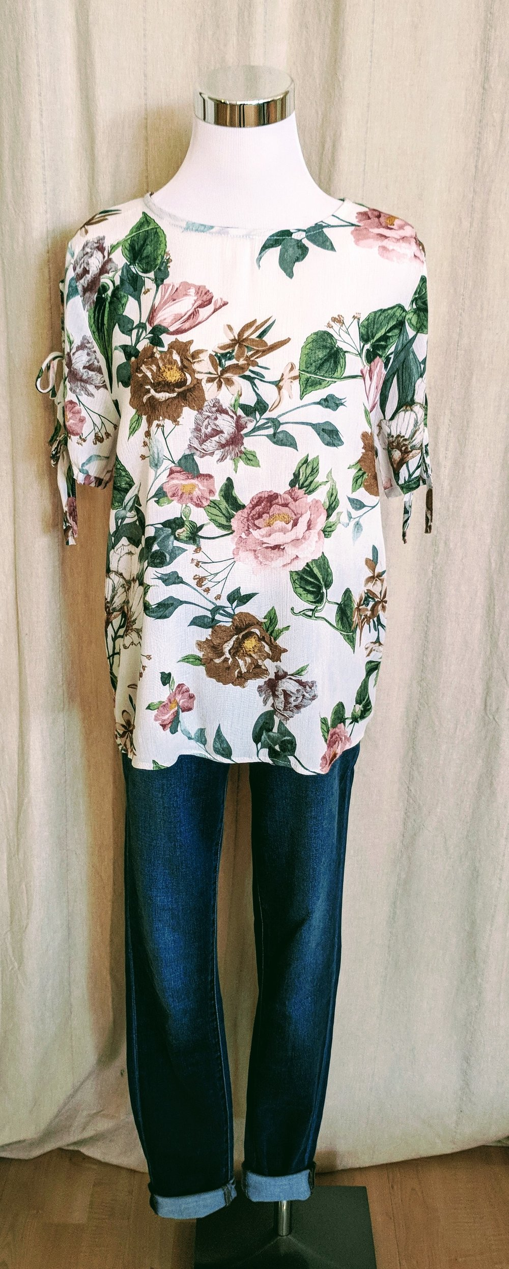 Short sleeve Vintage Floral top with Tie Detail on sleeve $32