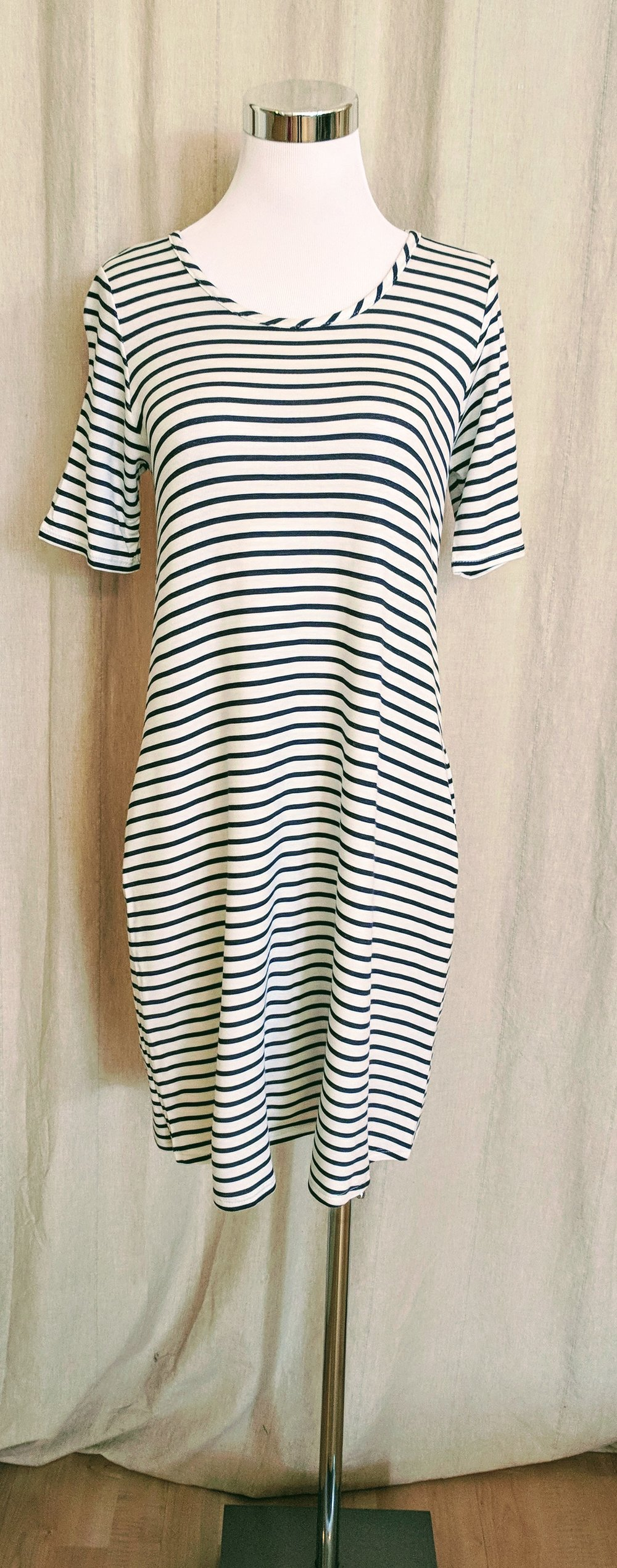 Navy stripe tunic dress with key hole detail on back. $38