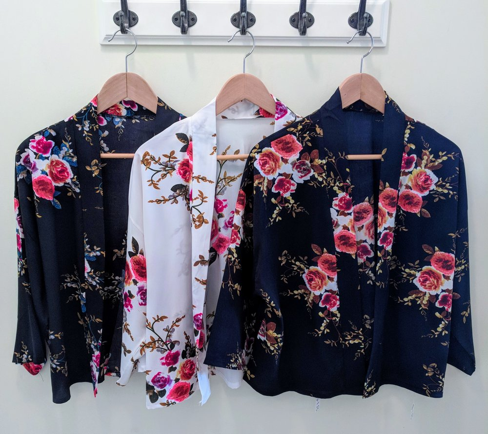 Rose pattern Kimonos in Black, White and Navy $18