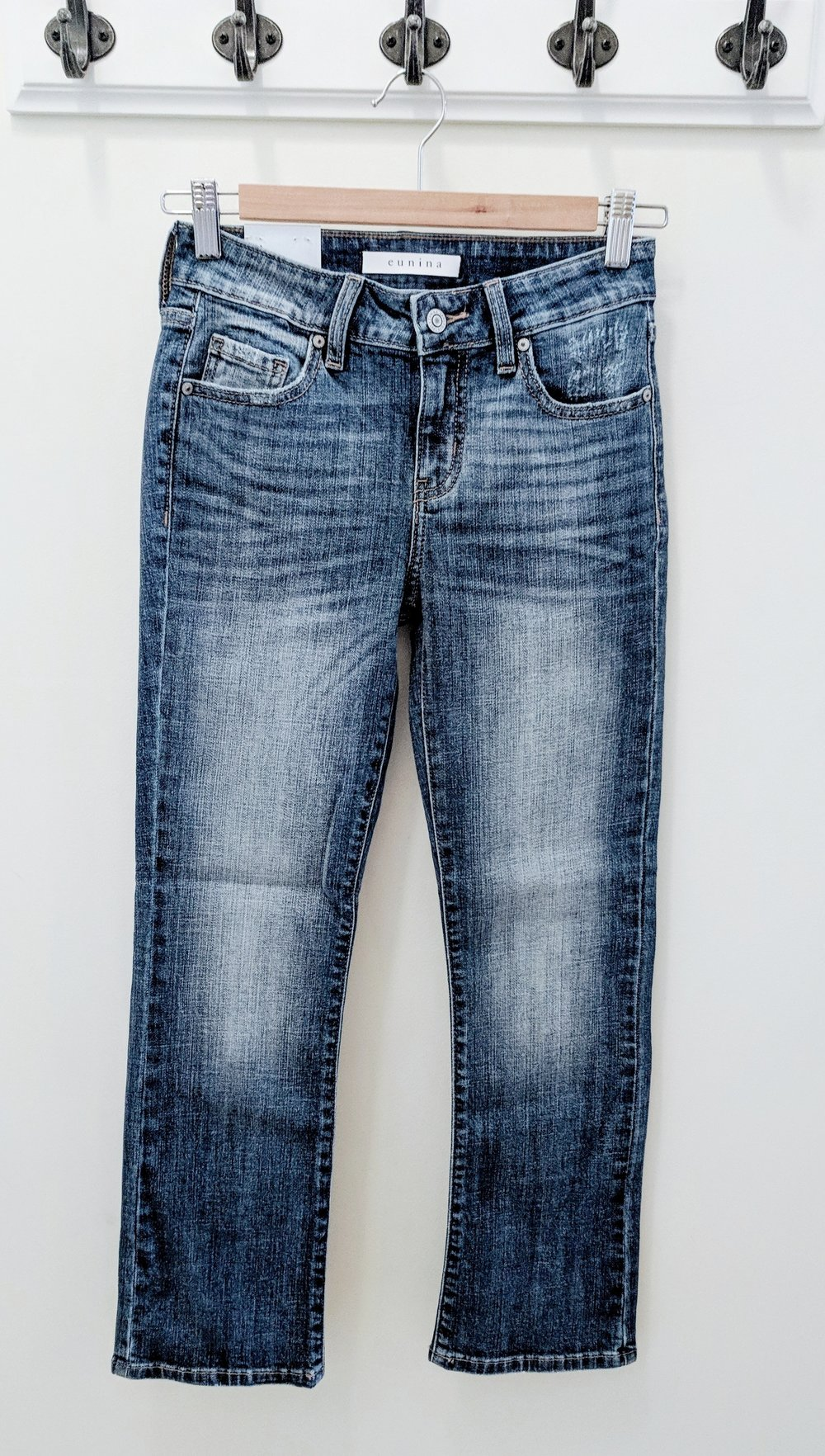 Medium wash, mid rise, cropped boot Jean $48