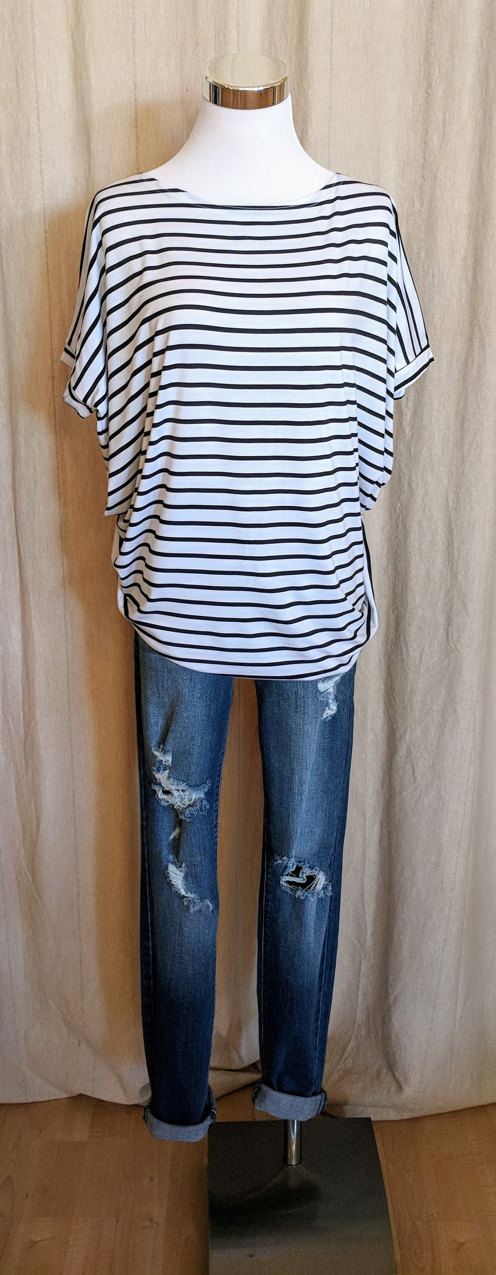 White and Black striped oversize top $28