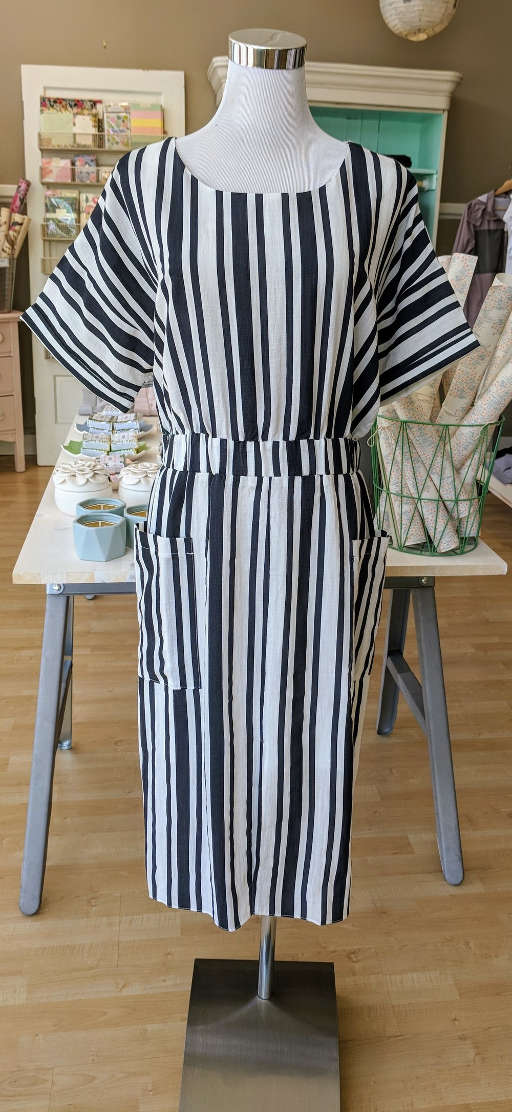 Navy stripe shift dress with boat neckline.