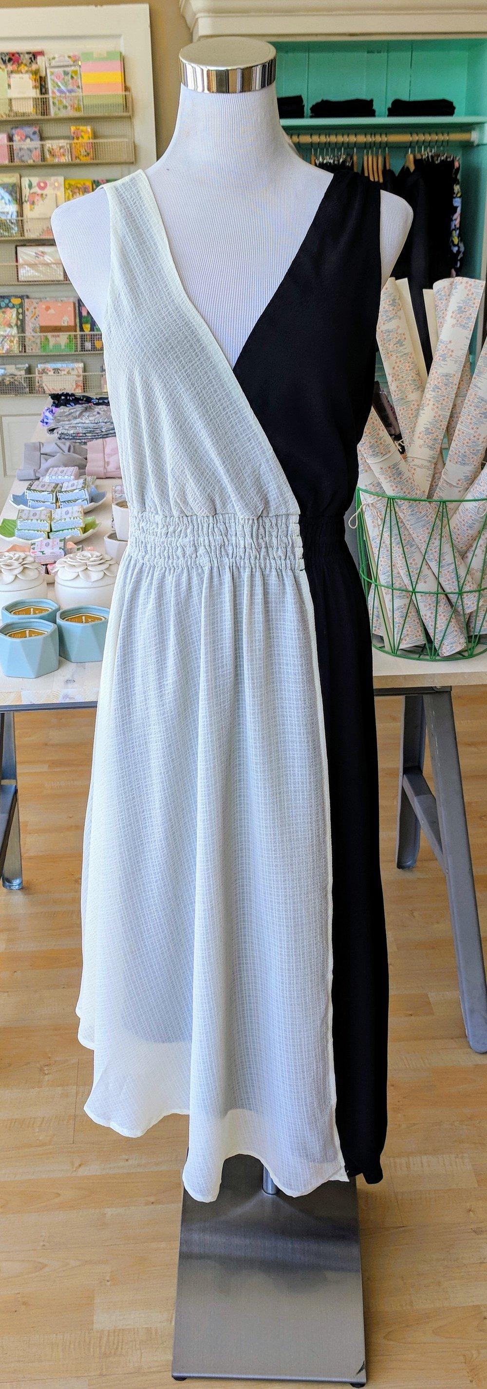 Black and Ivory A-line dress with v-neckline.