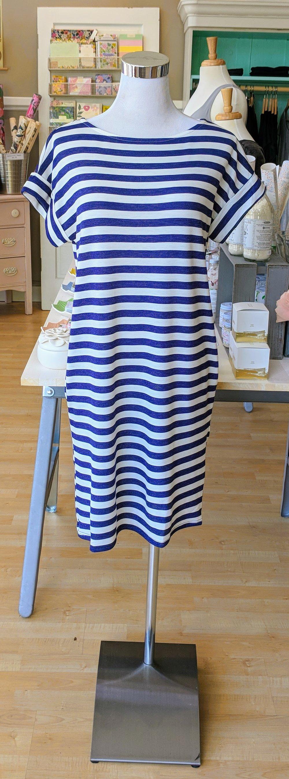 Navy stripe knit dress with pockets.