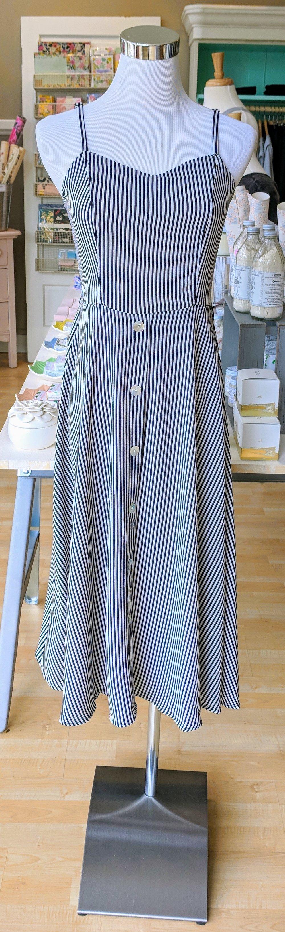 Pin stripe tank dress.