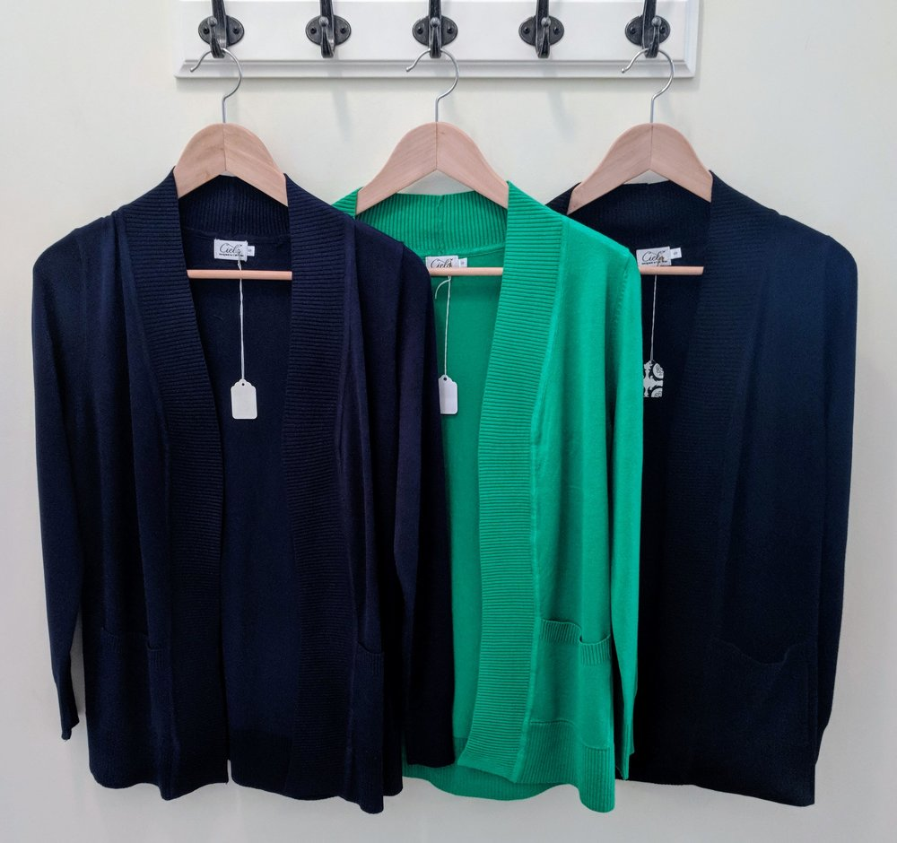 Black, Green and Navy long sleeve cardigans