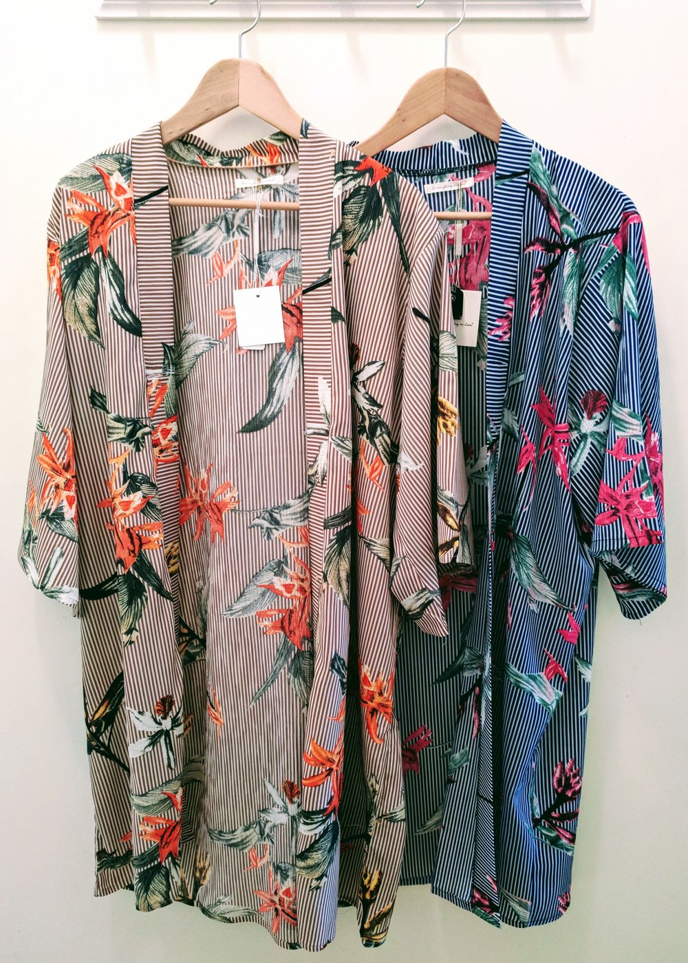 Taupe and Navy floral stripe kimono with dolman sleeve.