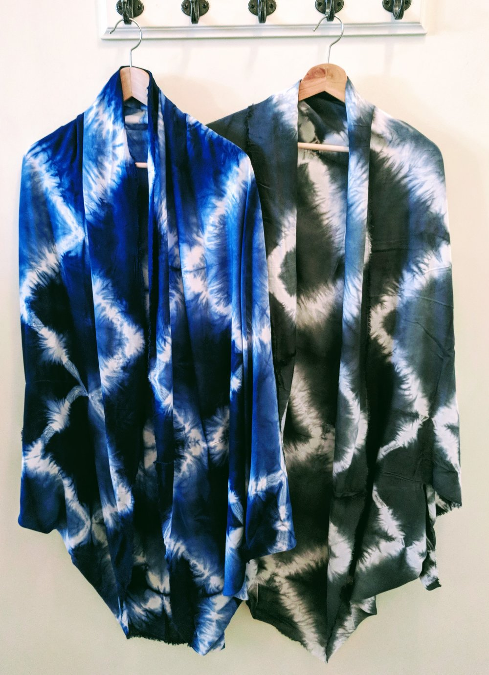 Blue and Grey Diamond tie dye cocoon kimono.