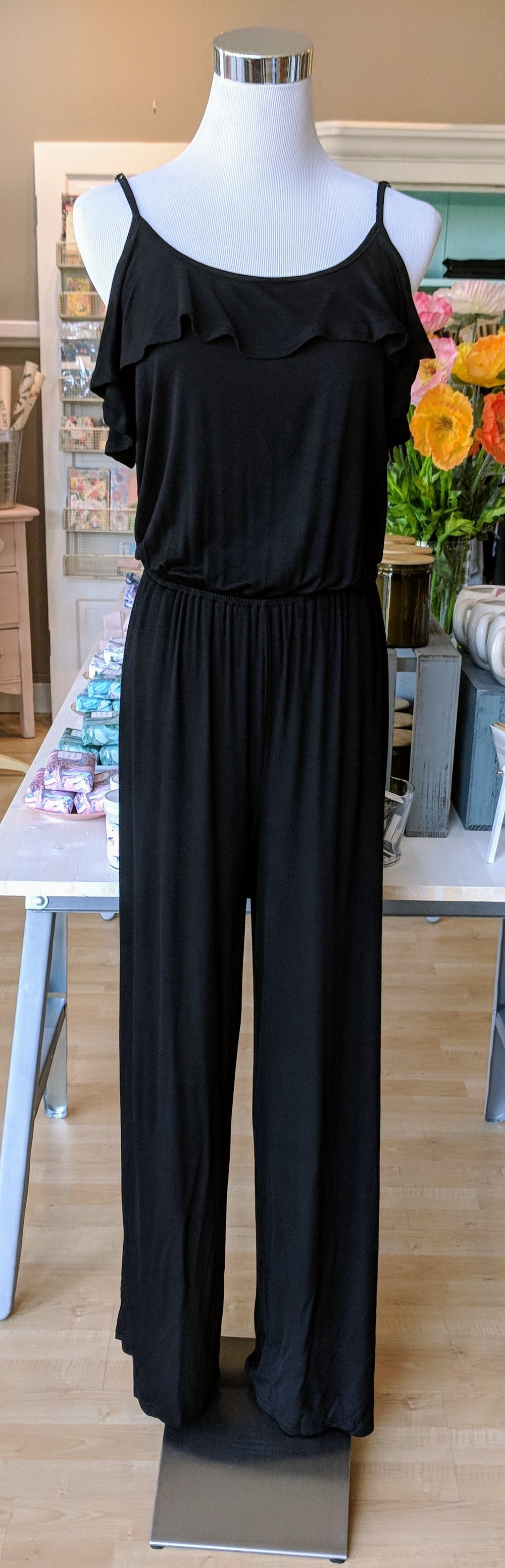 Black long ruffle tank jumpsuit.
