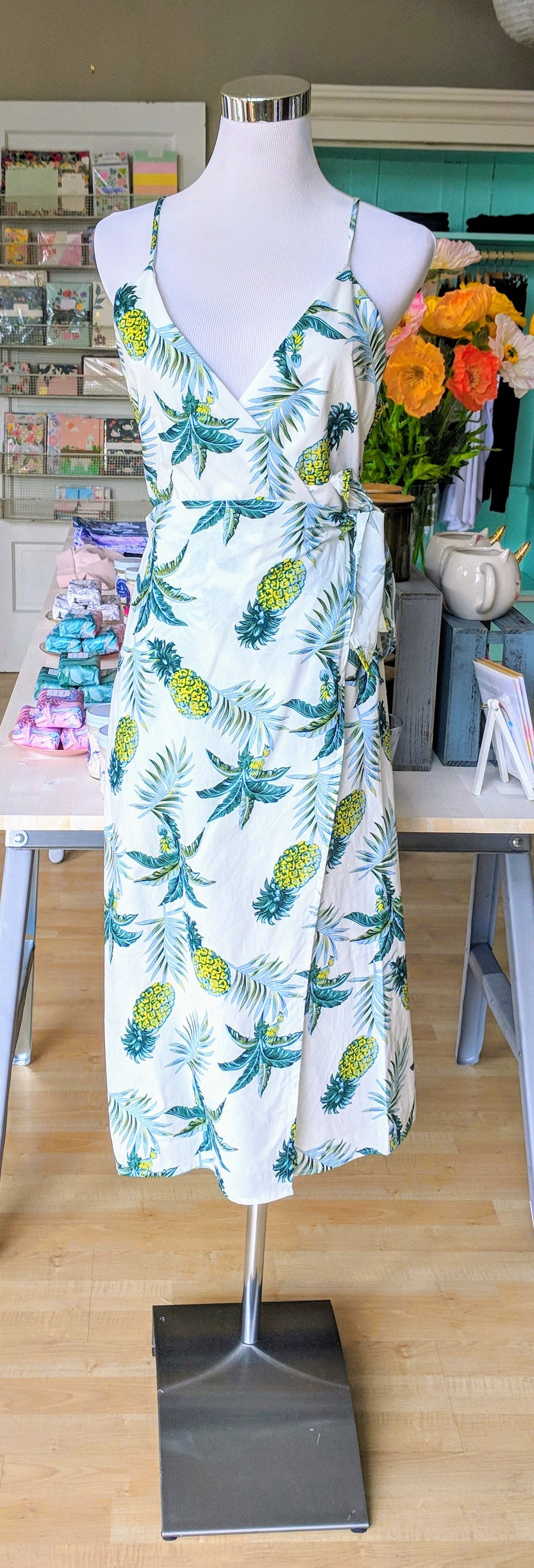 Pineapple print overlap dress with tie front.