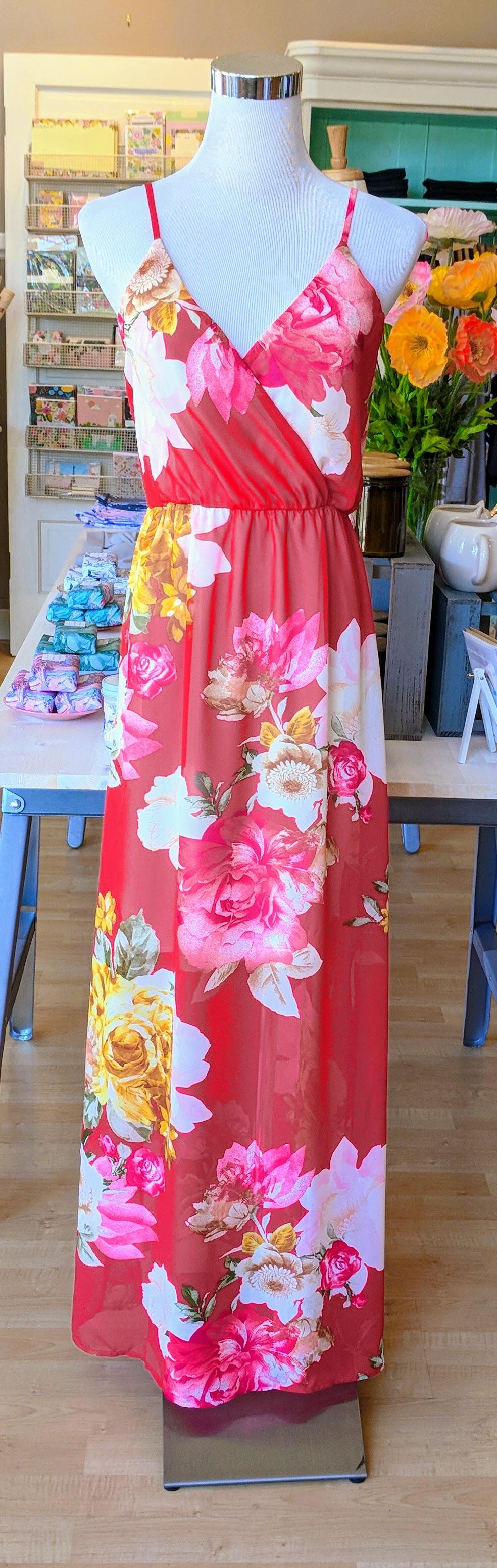 Red floral pattern faux wrap dress.