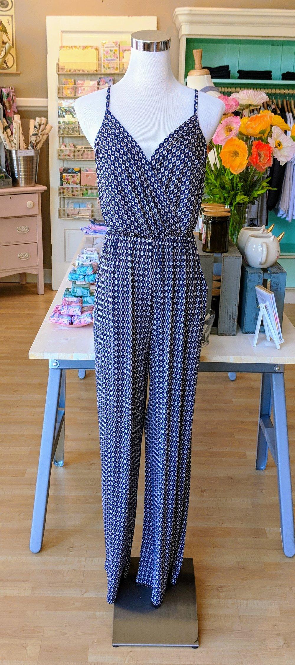 Blue pattern faux wrap jumpsuit.