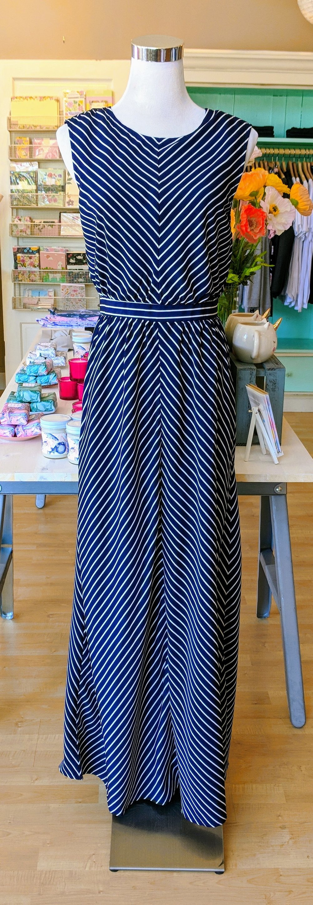 Navy stripe dress with key hole tie detail on back.