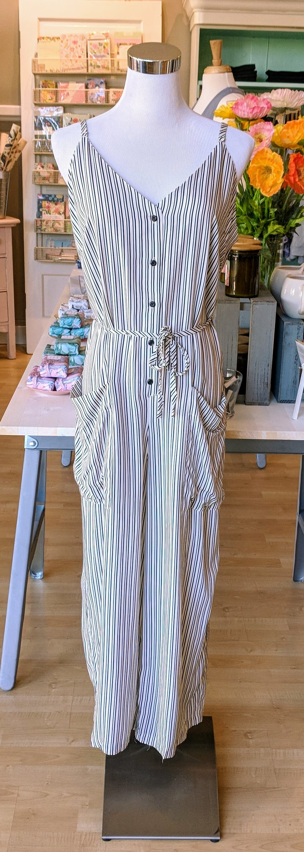 Black and White stripe cami jumpsuit.