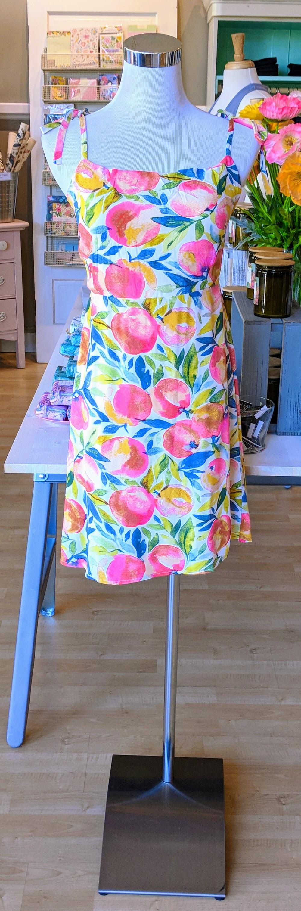 Peach print mini dress.