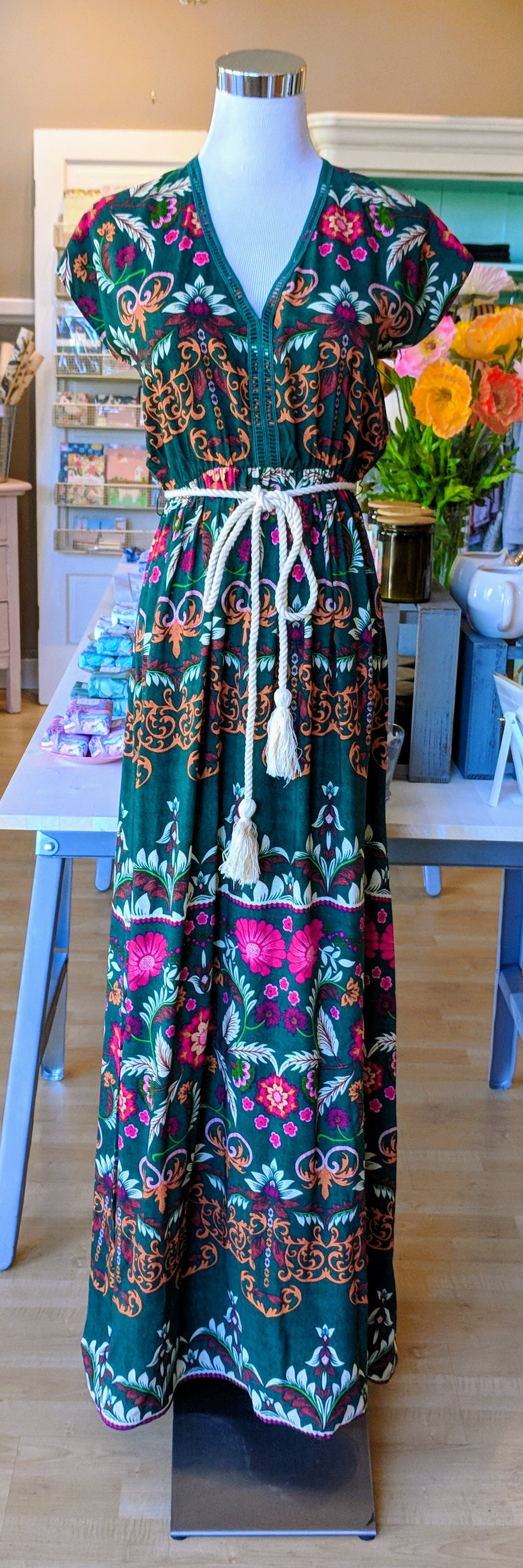 Hunter Green pattern maxi dress with rope belt.