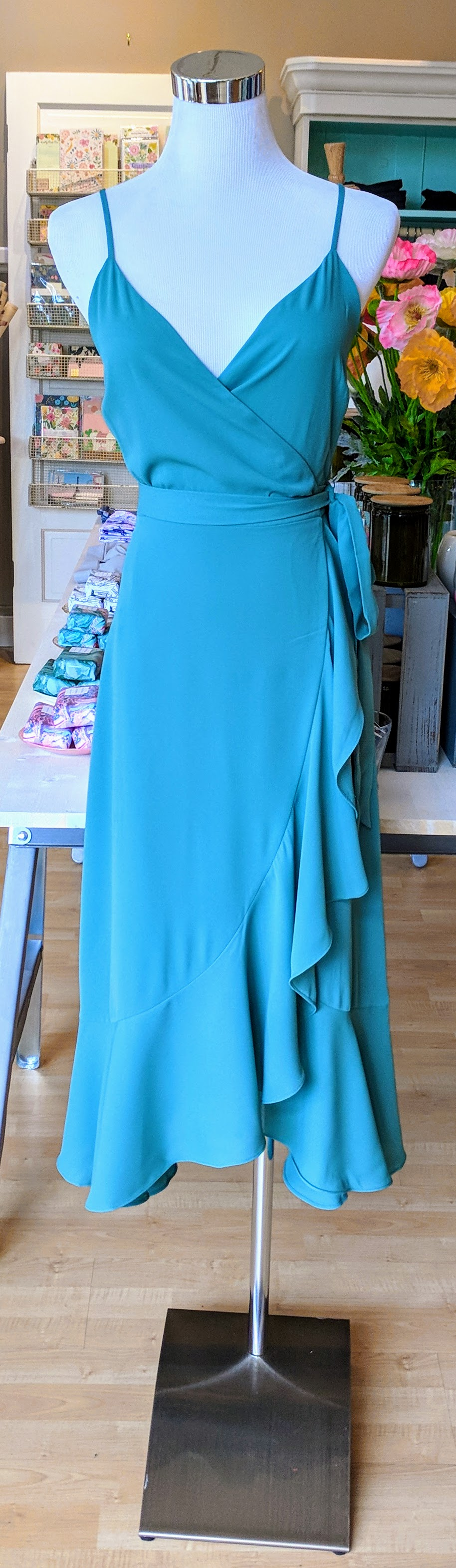Sea Green wrap dress with tie waist.