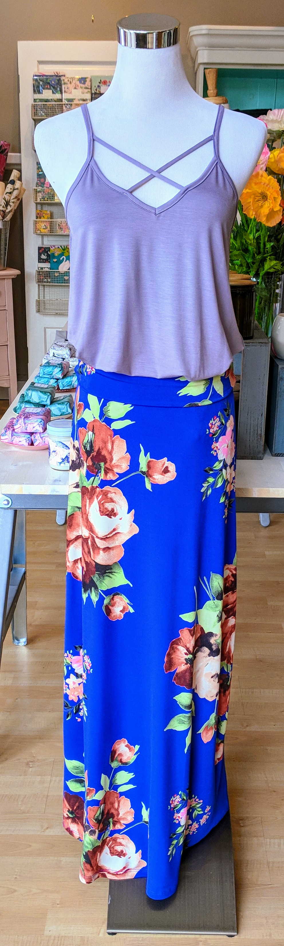 Royal floral maxi skirt with elastic waistband.