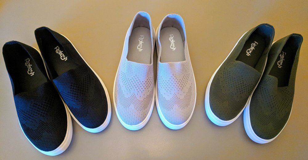 2 tone slip on shoes in black, grey and olive.