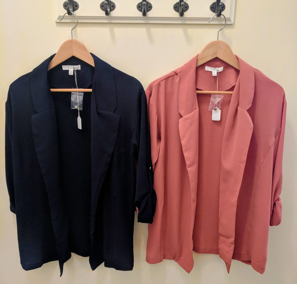 Navy and Pink chiffon open jacket with cuff sleeves.