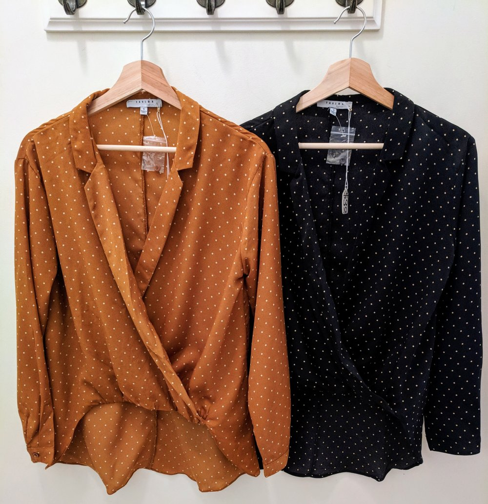 Caramel and Black long sleeve collar top with high-low hem.