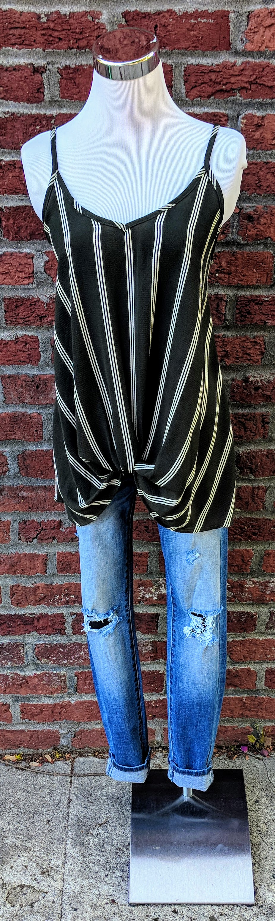Olive stripe tank top with twist detail on front.