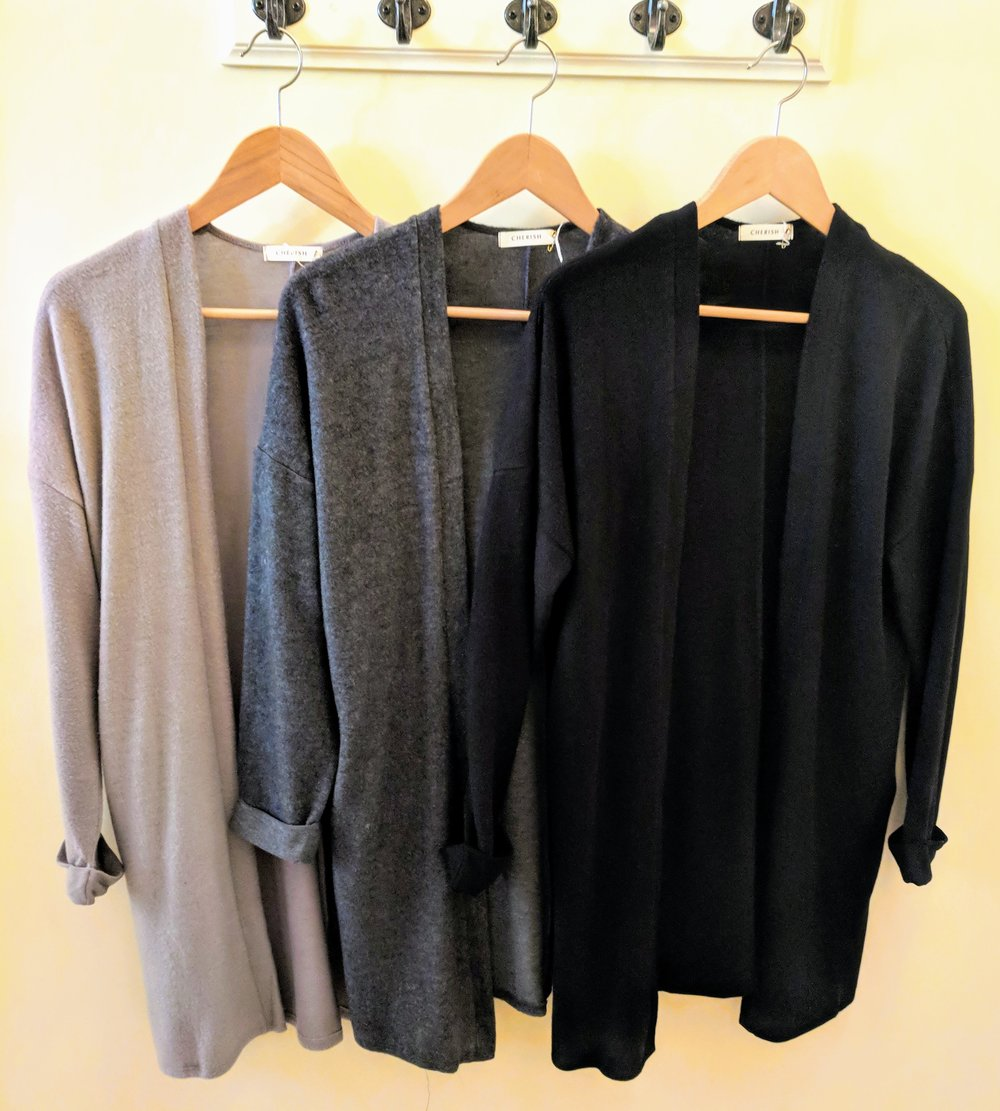 Heather Grey, Charcoal, and Black cozy soft drop shoulder open cardigan.