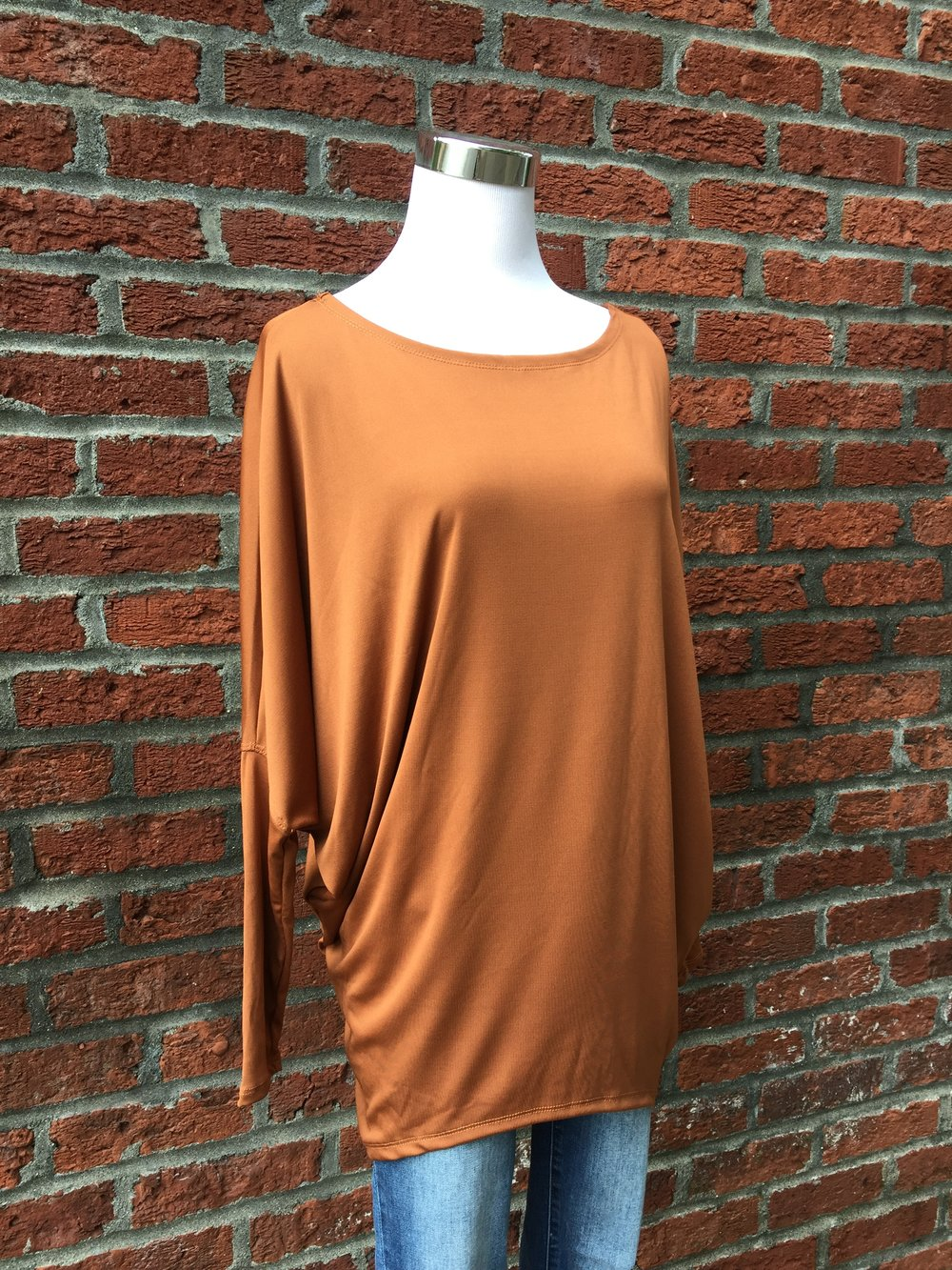 Burnt Orange Batwing Top