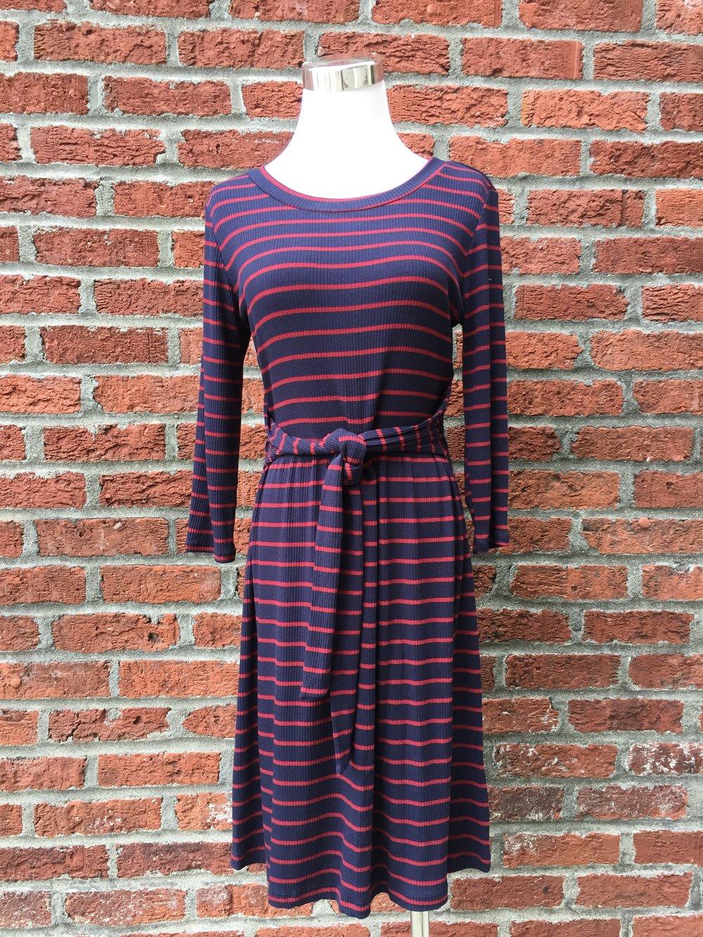 Tie Front Stripe Dress