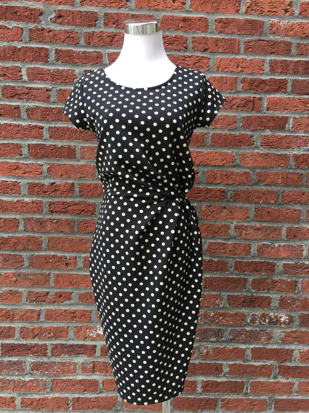 Cinched Polka Dot Dress