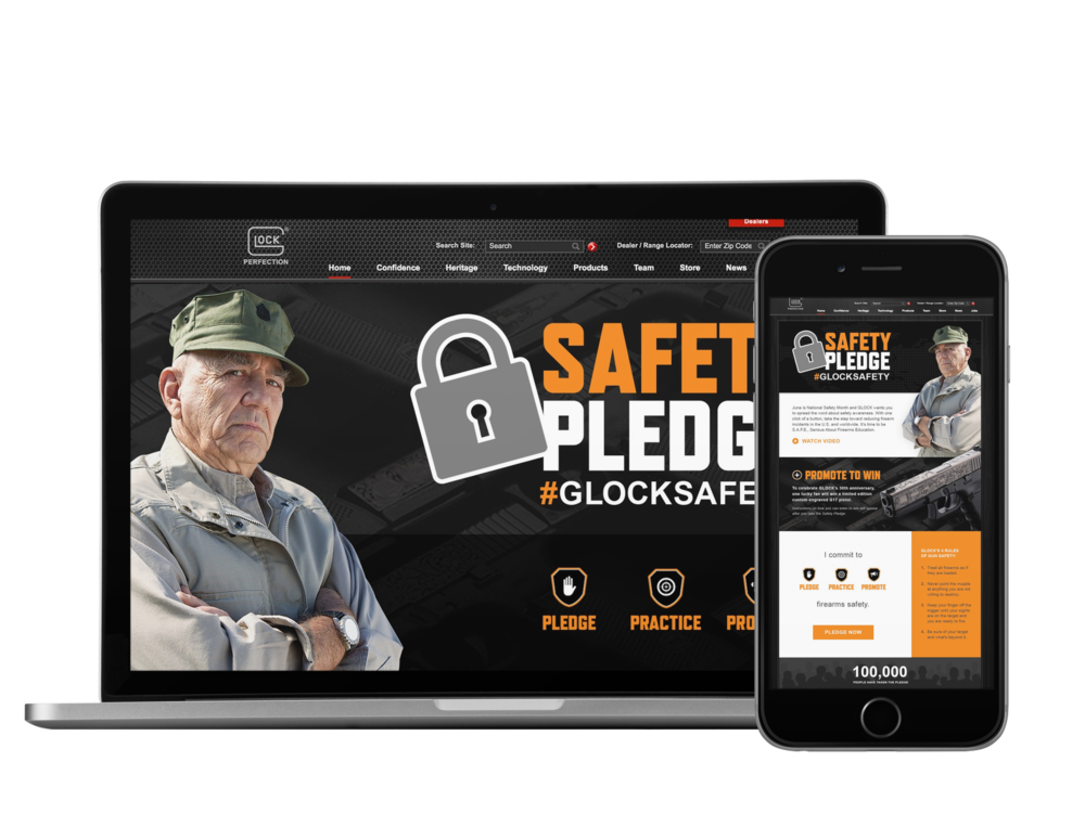 GLOCK Safety Pledge campaign to promote firearms safety during june's national safety month.    doubled goal to receive over  15,000 pledges in just 30 days.