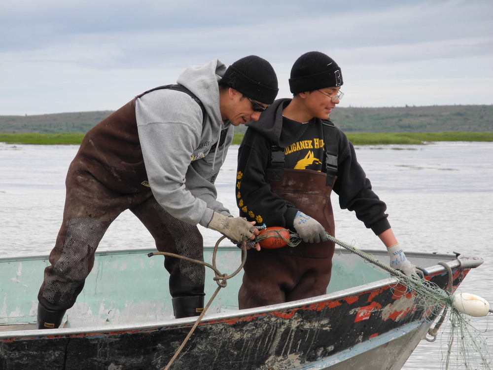 Father and son drift net fishing in Bristol Bay,  AK.